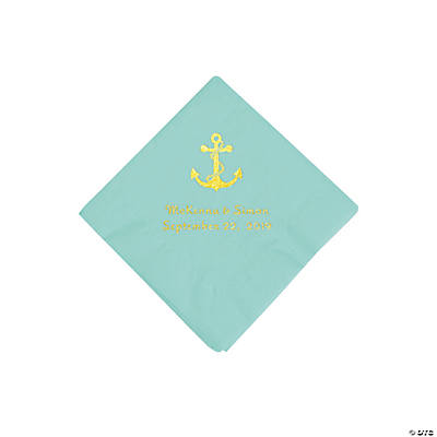 Fresh Mint Anchor Personalized Napkins with Gold Foil - Beverage Image Thumbnail