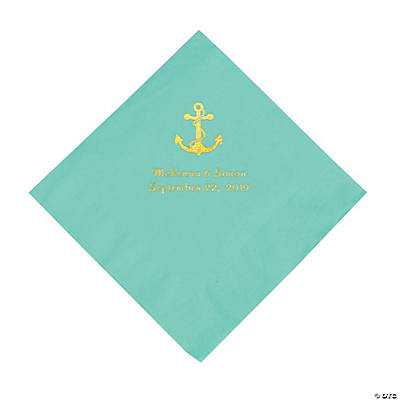 Fresh Mint Anchor Personalized Napkins with Gold Foil - Luncheon