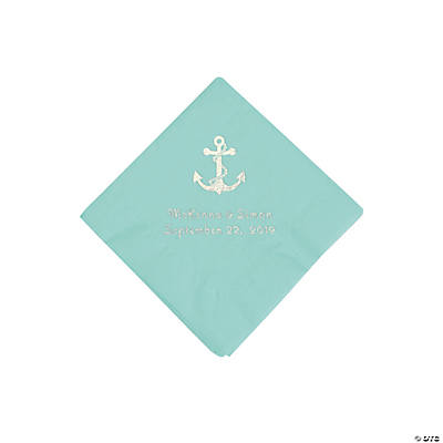 Fresh Mint Anchor Personalized Napkins with Silver Foil - Beverage Image Thumbnail