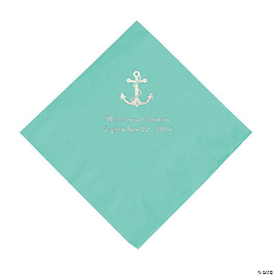 Fresh Mint Anchor Personalized Napkins with Silver Foil - Luncheon