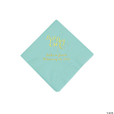 Fresh Mint Best Day Ever Personalized Napkins with Gold Foil - Beverage