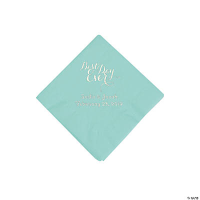 Fresh Mint Best Day Ever Personalized Napkins with Silver Foil - Beverage