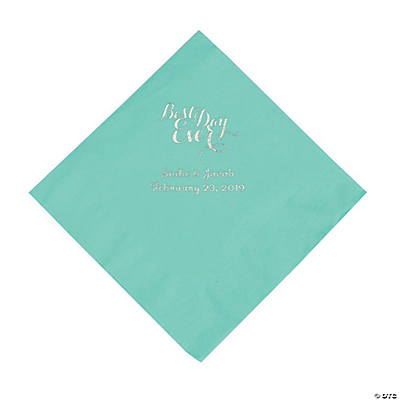 Fresh Mint Best Day Ever Personalized Napkins with Silver Foil - Luncheon