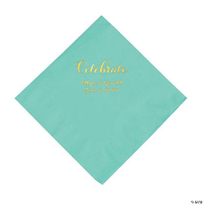 Fresh Mint Celebrate Personalized Napkins with Gold Foil - Luncheon Image Thumbnail