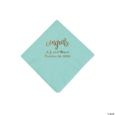Fresh Mint Congrats Personalized Napkins with Gold Foil - Beverage Image Thumbnail