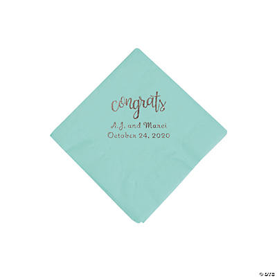 Fresh Mint Congrats Personalized Napkins with Silver Foil - Beverage Image Thumbnail