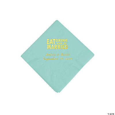Fresh Mint Eat Drink & Be Married Personalized Napkins with Gold Foil - Beverage Image Thumbnail