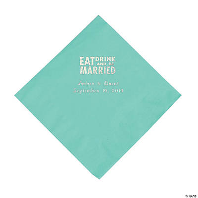 Fresh Mint Eat Drink & Be Married Personalized Napkins with Silver Foil - Luncheon