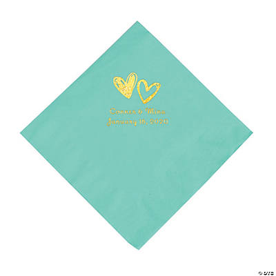 Fresh Mint Hearts Personalized Napkins with Gold Foil - Luncheon Image Thumbnail