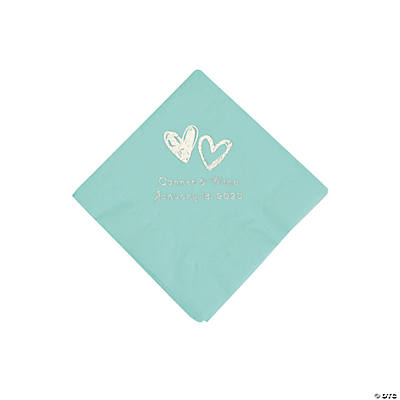 Fresh Mint Hearts Personalized Napkins with Silver Foil - Beverage Image Thumbnail
