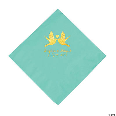 Fresh Mint Love Birds Personalized Napkins with Gold Foil - Luncheon Image Thumbnail