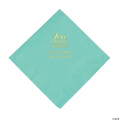 Fresh Mint Love Laughter & Happily Ever After Personalized Napkins with Gold Foil - Luncheon Image Thumbnail