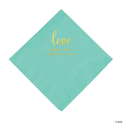 Fresh Mint Love Script Personalized Napkins with Gold Foil - Luncheon Image Thumbnail