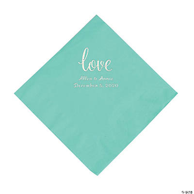 Fresh Mint Love Script Personalized Napkins with Silver Foil - Luncheon Image Thumbnail