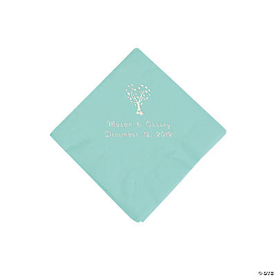 Fresh Mint Love Tree Personalized Napkins with Silver Foil - Beverage Image Thumbnail