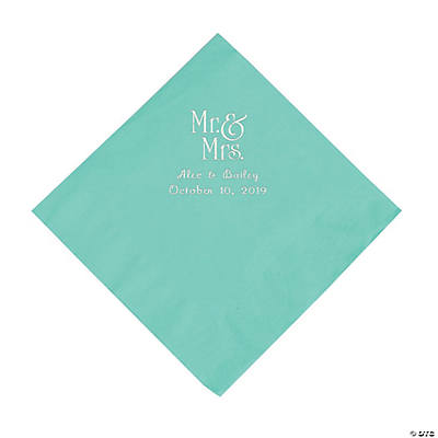 Fresh Mint Mr. & Mrs. Personalized Napkins with Silver Foil - Luncheon Image Thumbnail