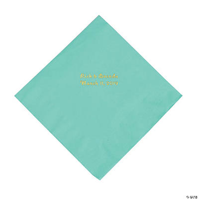 Fresh Mint Personalized Napkins with Gold Foil - Luncheon