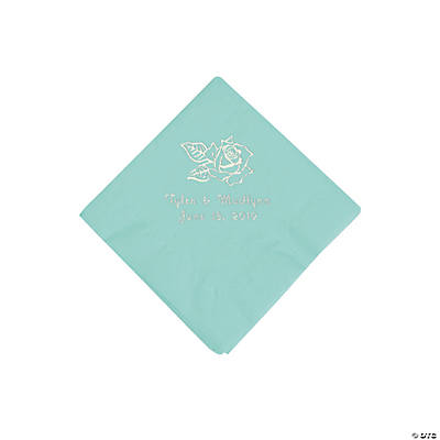 Fresh Mint Rose Personalized Napkins with Silver Foil - Beverage Image Thumbnail