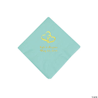 Fresh Mint Two Hearts Personalized Napkins with Gold Foil - Beverage Image Thumbnail