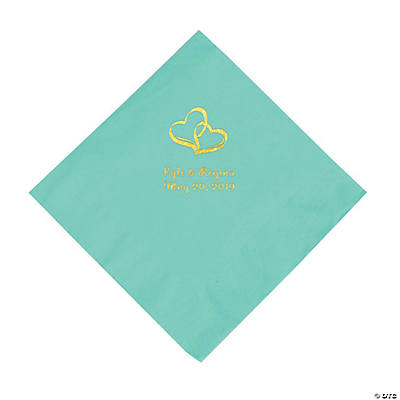 Fresh Mint Two Hearts Personalized Napkins with Gold Foil - Luncheon Image Thumbnail