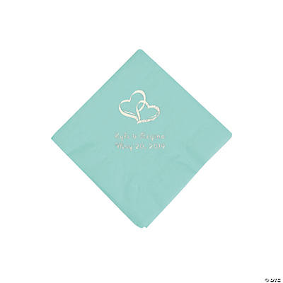 Fresh Mint Two Hearts Personalized Napkins with Silver Foil - Beverage Image Thumbnail