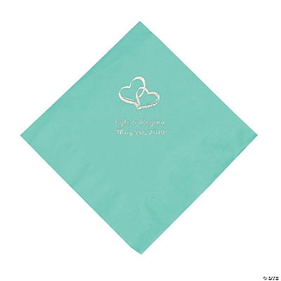 Fresh Mint Two Hearts Personalized Napkins with Silver Foil - Luncheon Image Thumbnail