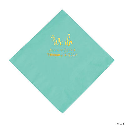 Fresh Mint We Do Personalized Napkins with Gold Foil - Luncheon Image Thumbnail