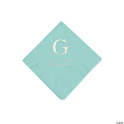 Fresh Mint Wedding Monogram Personalized Napkins with Silver Foil - Beverage
