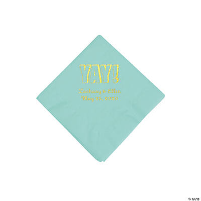 Fresh Mint Yay Personalized Napkins with Gold Foil - Beverage Image Thumbnail