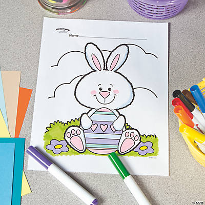 Fuzzy Easter Bunny Free Printable Coloring Page