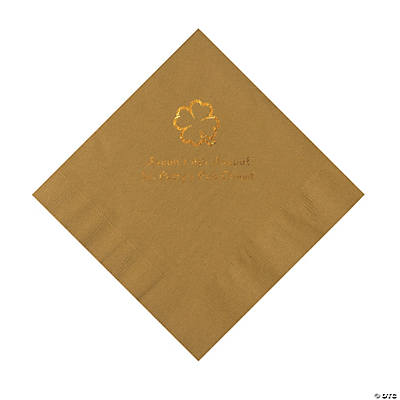 Gold 4-Leaf Clover Personalized Napkins with Gold Foil - Luncheon Image Thumbnail