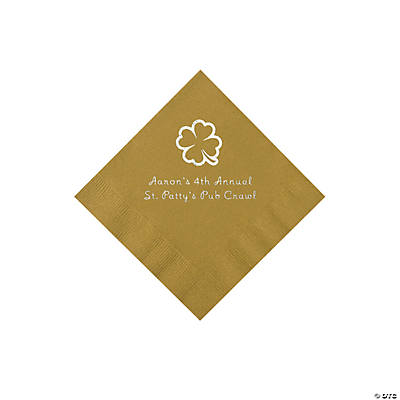 Gold 4-Leaf Clover Personalized Napkins with Silver Foil - Beverage Image Thumbnail