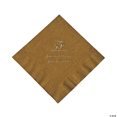 Gold 50th Anniversary Personalized Napkins with Gold Foil - Luncheon