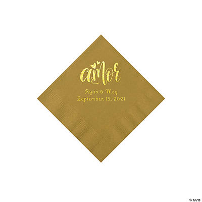 Gold Amor Personalized Napkins with Gold Foil - Beverage Image Thumbnail