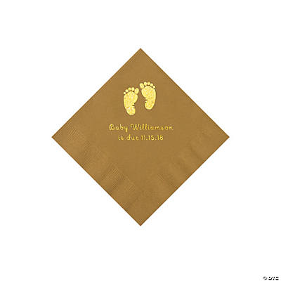 Gold Baby Feet Personalized Napkins with Gold Foil - Beverage Image Thumbnail