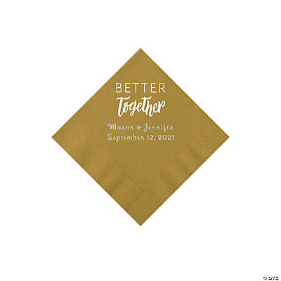 Gold Better Together Personalized Napkins with Silver Foil - Beverage Image Thumbnail