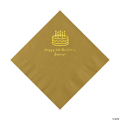 Gold Birthday Cake Personalized Napkins with Gold Foil - Luncheon Image Thumbnail