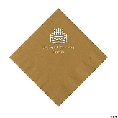 Gold Birthday Cake Personalized Napkins with Silver Foil - Luncheon Image Thumbnail