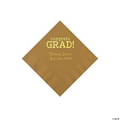 Gold Congrats Grad Personalized Napkins with Gold Foil - Beverage Image Thumbnail
