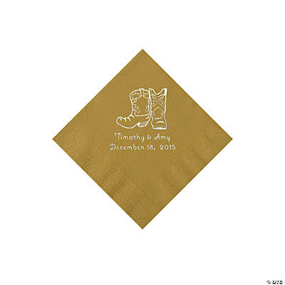 Gold Cowboy Boots Personalized Napkins with Silver Foil - Beverage Image Thumbnail