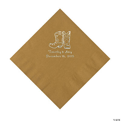 Gold Cowboy Boots Personalized Napkins with Silver Foil - Luncheon Image Thumbnail
