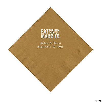 Gold Eat, Drink And Be Married Napkins with Silver Foil - Luncheon Image Thumbnail