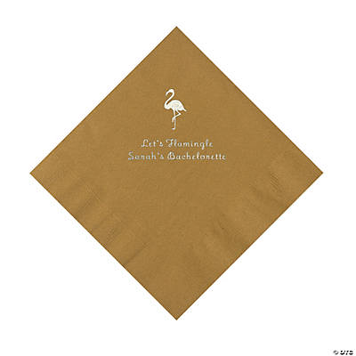 Gold Flamingo Personalized Napkins with Silver Foil - Luncheon