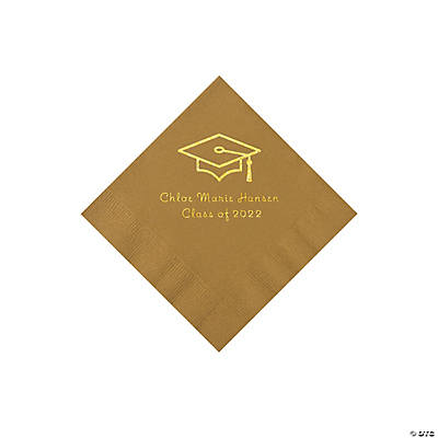Gold Grad Mortarboard Personalized Napkins with Gold Foil – Beverage Image Thumbnail