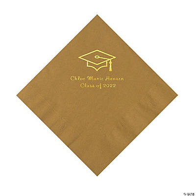 Gold Grad Mortarboard Personalized Napkins with Gold Foil – Luncheon Image Thumbnail