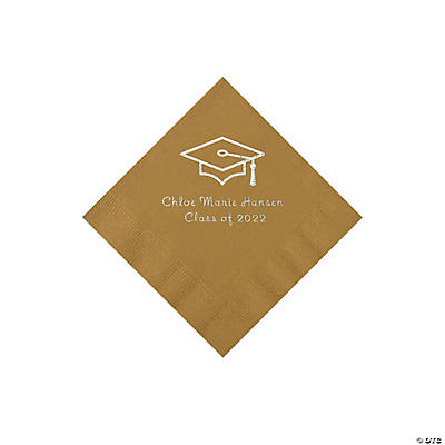 Gold Grad Mortarboard Personalized Napkins with Silver Foil – Beverage Image Thumbnail