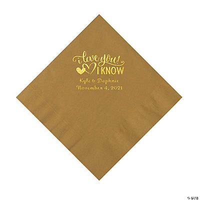 Gold I Love You, I Know Personalized Napkins with Gold Foil - Luncheon Image Thumbnail