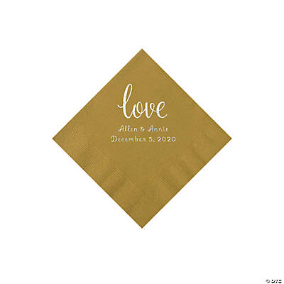 Gold Love Script Personalized Napkins with Silver Foil - Beverage Image Thumbnail