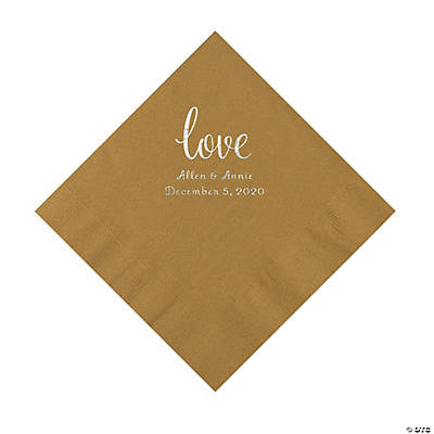 Gold Love Script Personalized Napkins with Silver Foil - Luncheon Image Thumbnail