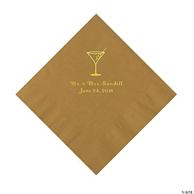 Gold Martini Glass Personalized Napkins with Gold Foil - Luncheon Image Thumbnail
